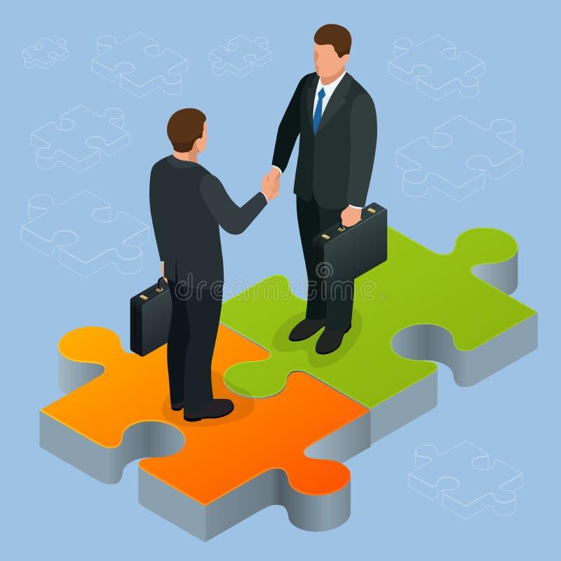 Biznesu i finanse pojęcie Uścisk dłoni isometric Partnerstwa mieszkania 3d ilustraci Dwa biznesmenów isometric trząść ilustracja wektor