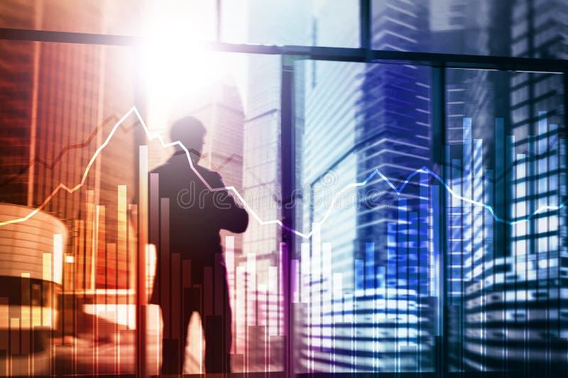 Biznesu i finanse wykres na zamazanym tle Handlować, inwestyci i ekonomii pojęcie, obrazy royalty free