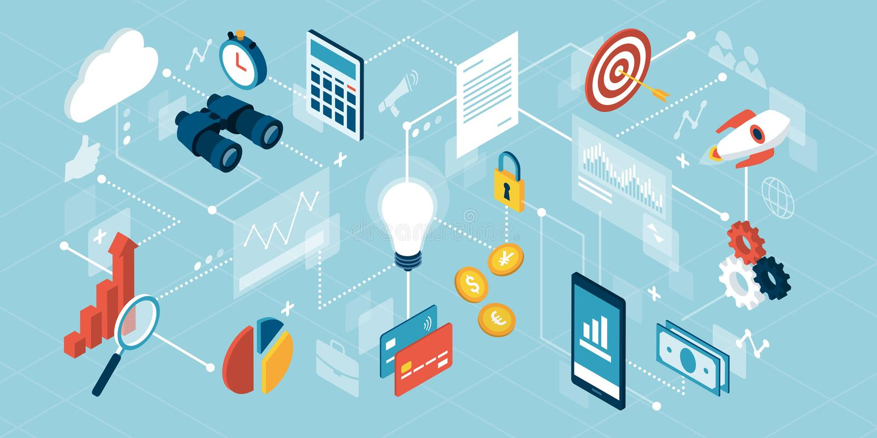 Biznesu i finanse zarządzanie ilustracja wektor