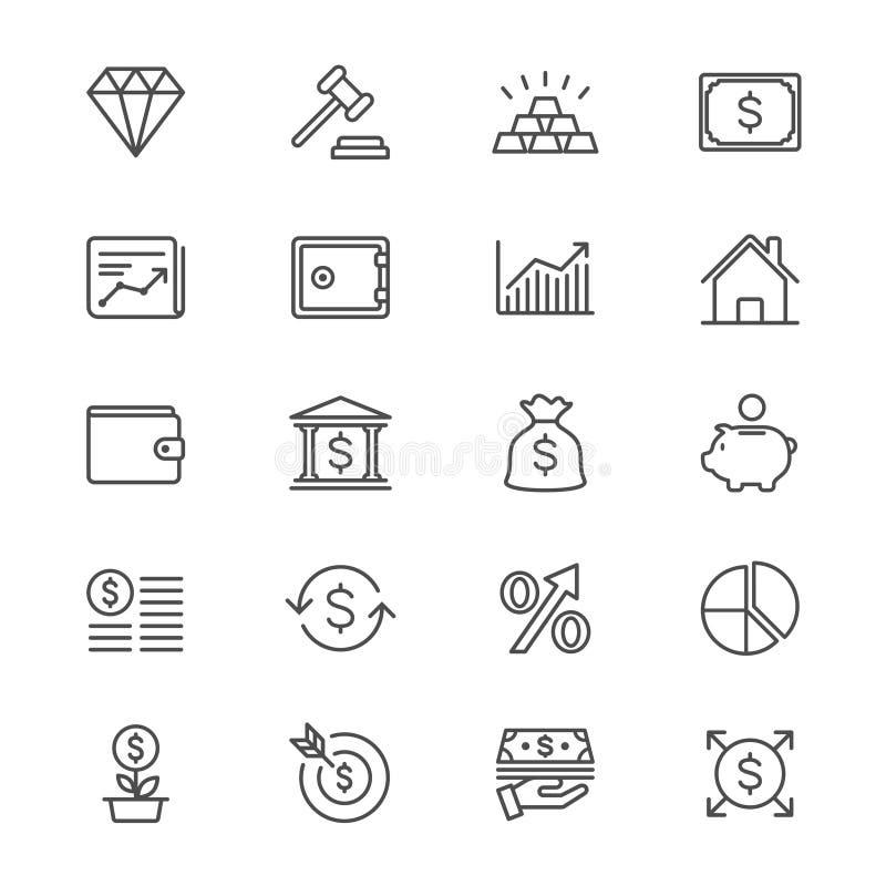 Biznesu i inwestyci cienkie ikony ilustracji