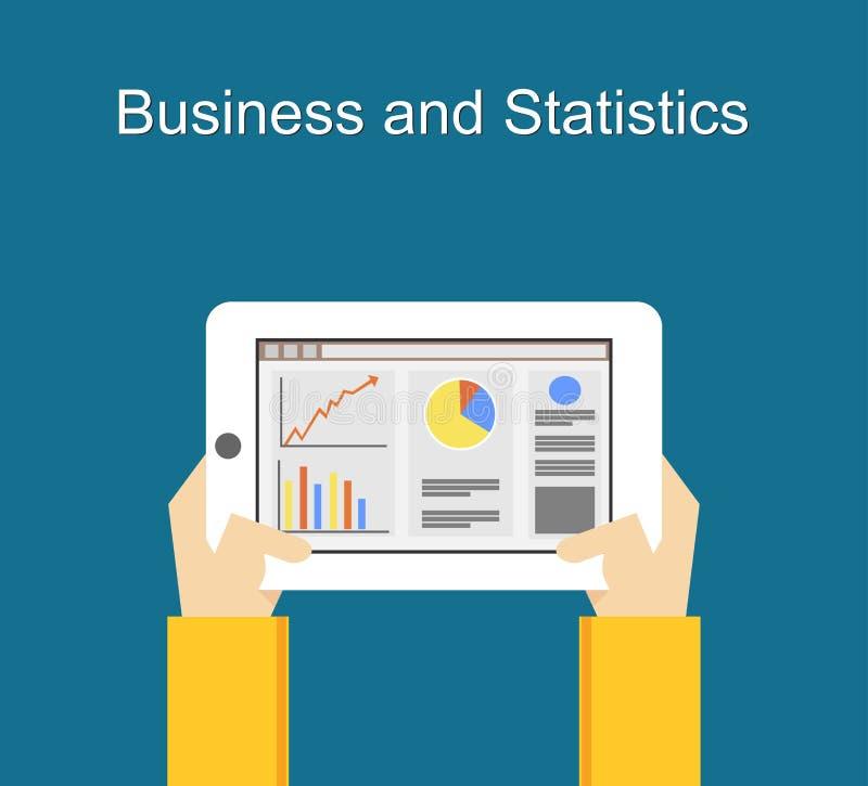 Biznesu i statystyk mieszkania ilustracyjni projekty Monitorowanie biznes i statystyki pojęcia ilustracja na gadżetu ekranie royalty ilustracja