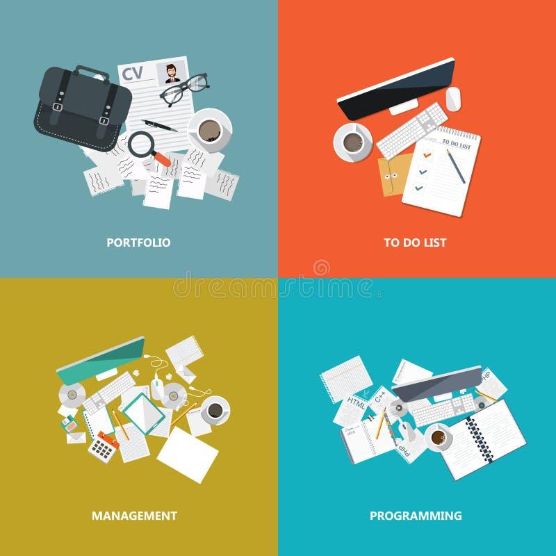Biznesu i technologii ikony set Płaska wektorowa ilustracja ilustracja wektor