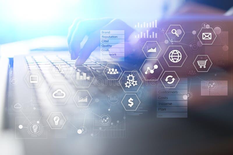 Biznesu i technologii pojęcie Wykresy i ikony na wirtualnym parawanowym tle zdjęcie royalty free