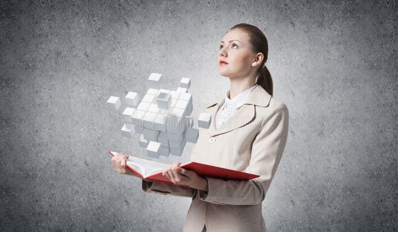 Biznesu i technologii pojęcie z otwartą książką obraz royalty free