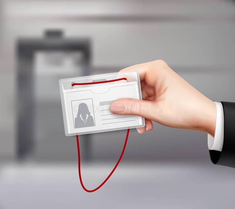 Biznesu ID karty ręka Realistyczna ilustracji