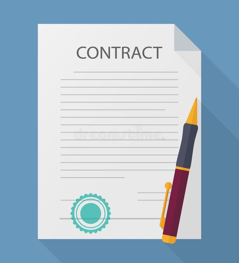 Biznesu kontrakt z pióro wektoru ilustracją Skracanie ikony mieszkania styl ilustracja wektor
