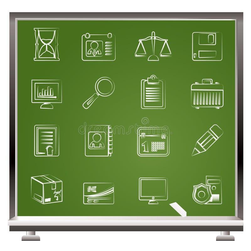 biznesu kredowy ikon biuro malujący ilustracji