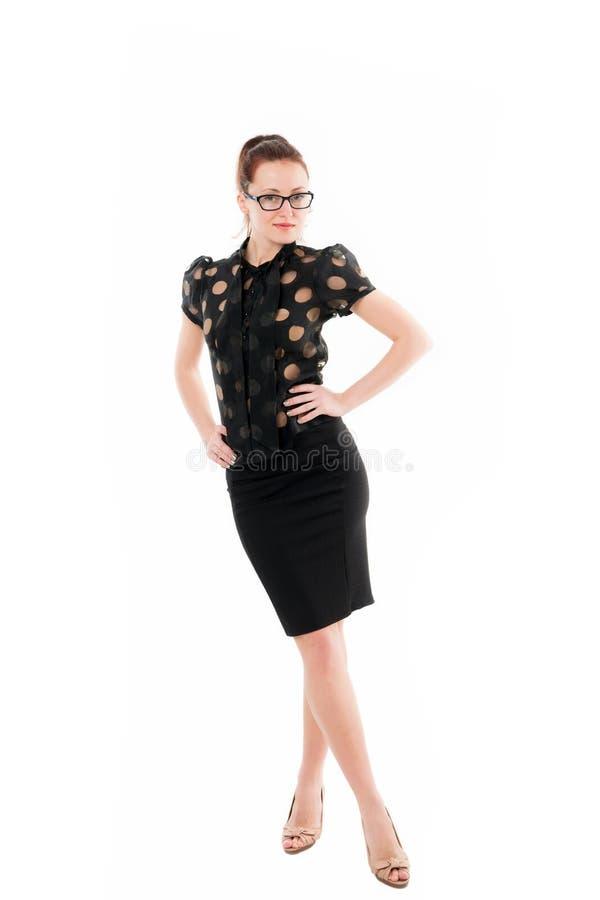 Biznesu najpierw Pomyślna biznesowa dama Biznesowa kobieta w eleganckim formalnym stylu Ładna kobieta jest ubranym szkła z obraz stock