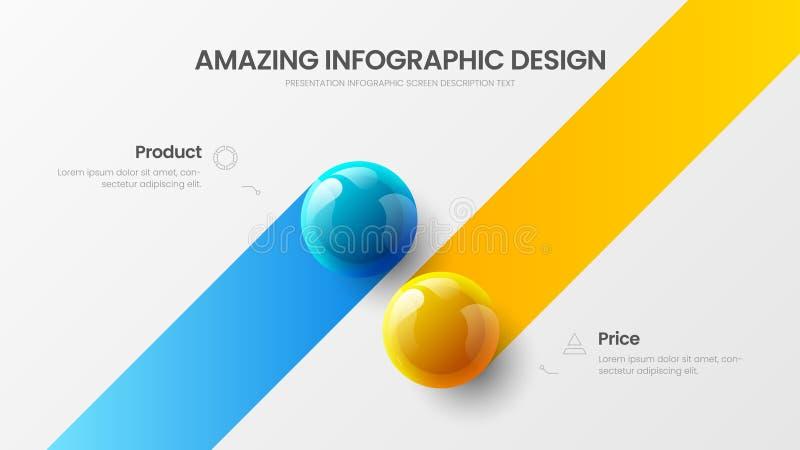 Biznesu 2 opcji infographic prezentacji piłek ilustracji wektorowy szablon Korporacyjnego raportu projekta układ obrazy royalty free