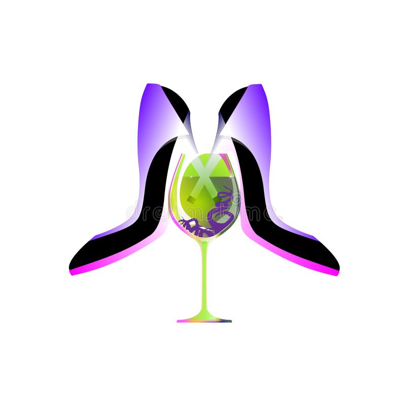Biznesu partyjny logo, biz kobiety, absyntu ajerkoniaka but Odosobniona, infographic i ogólnospołeczna medialna ilustracja dla, ilustracja wektor