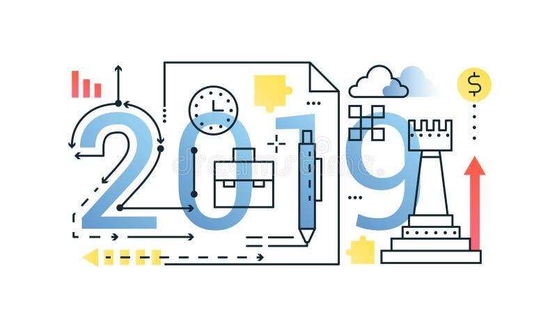 Biznesu 2019 słowa składu pojęcia modny sztandar Konturu uderzenia finanse, pieniądze, strategia, planuje Mieszkanie kreskowe iko ilustracji