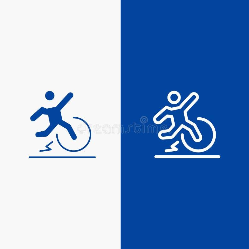 Biznesu, zmiany, wygody, ucieczki, urlop linii i glifu Stałej ikony sztandaru glifu, Błękitnej ikony błękita Stały sztandar ilustracji
