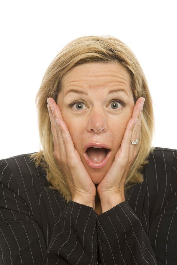 bizneswomanów gestów wstyd obraz stock