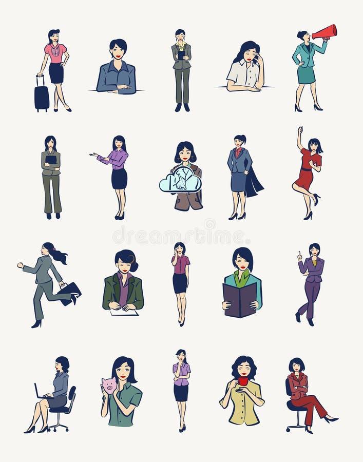 20 bizneswomanów ilustracj ilustracja wektor