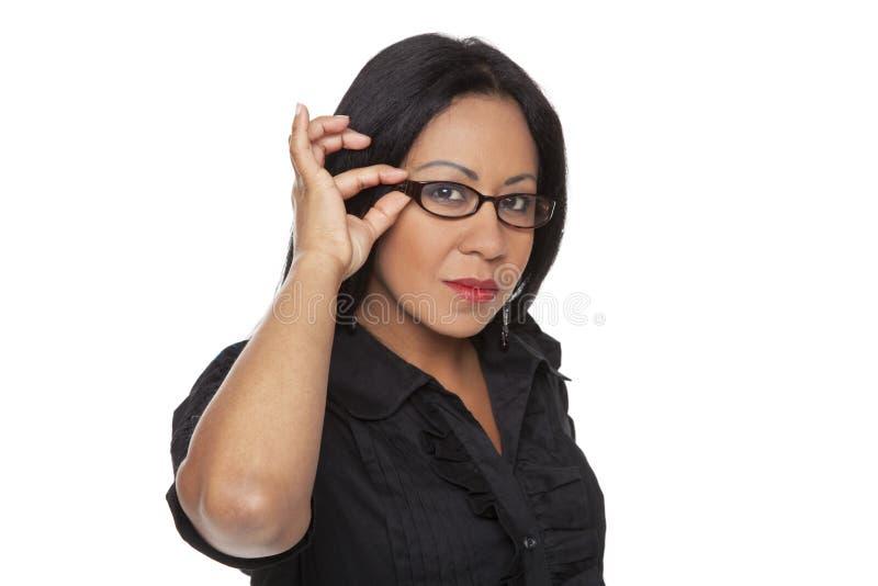 bizneswomanów TARGET2217_0_ szkła jej Latina obraz stock