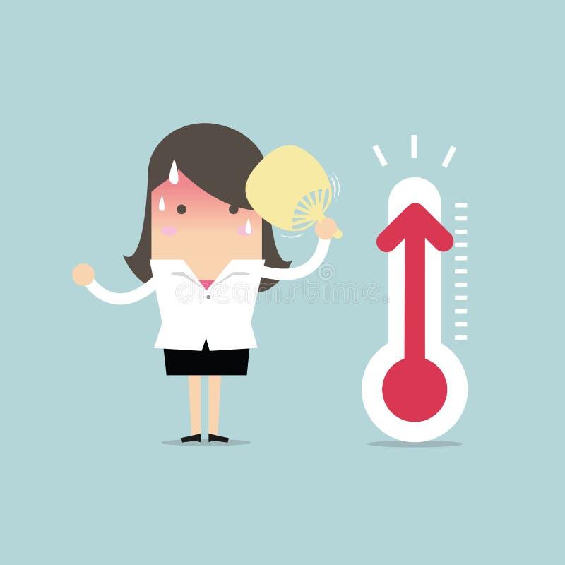 Bizneswoman bardzo gorący ponieważ narosła temperatura ilustracja wektor