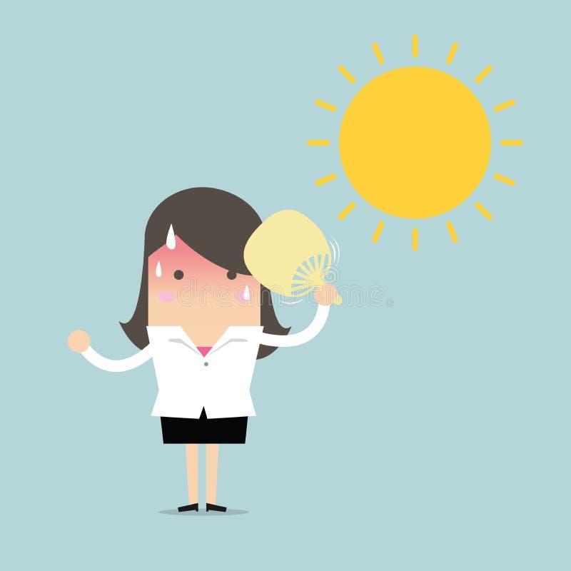 Bizneswoman bardzo gorący z falcowania fan ciosem i słońcem ilustracji