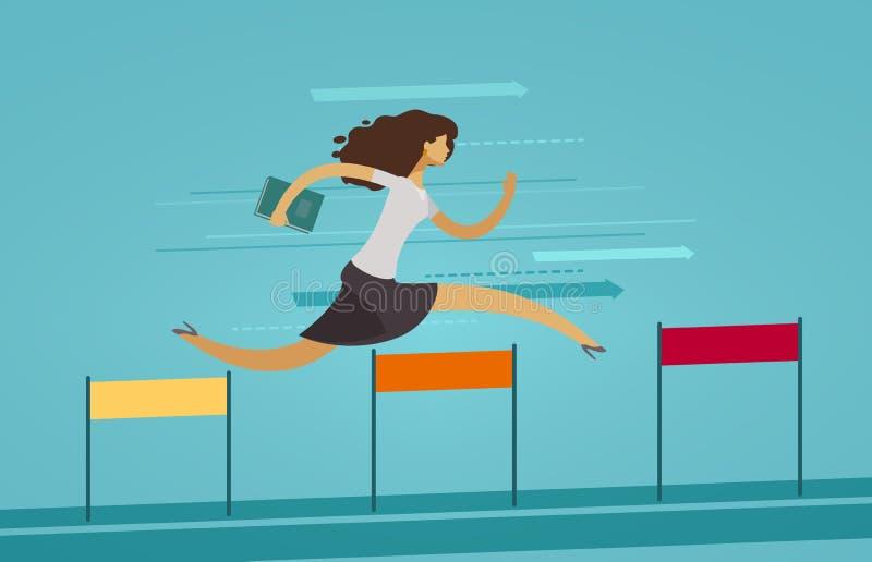 Bizneswoman biega na przeszkoda kursie poj?cia prowadzenia domu posiadanie klucza z?oty si?gaj?cy niebo r?wnie? zwr?ci? corel ilu ilustracji