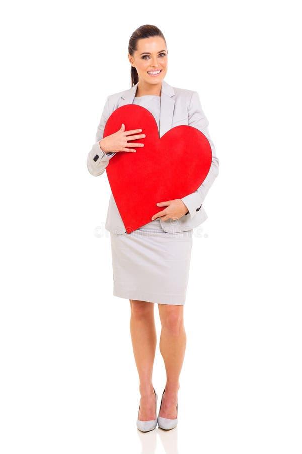 Bizneswoman czerwieni serce zdjęcie royalty free