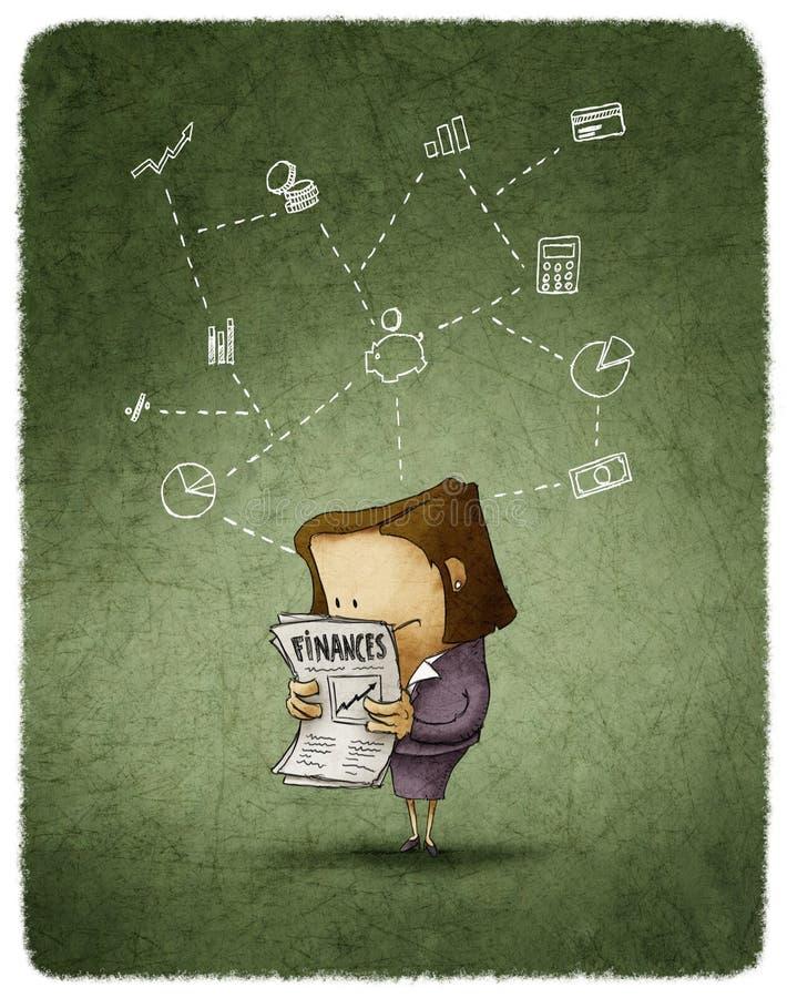 Bizneswoman czytający ilustracja wektor