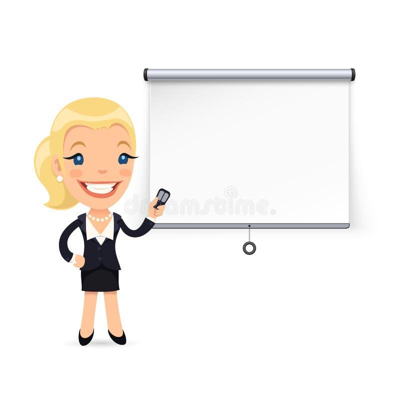 Bizneswoman Daje konwersatorium lub prezentaci ilustracja wektor