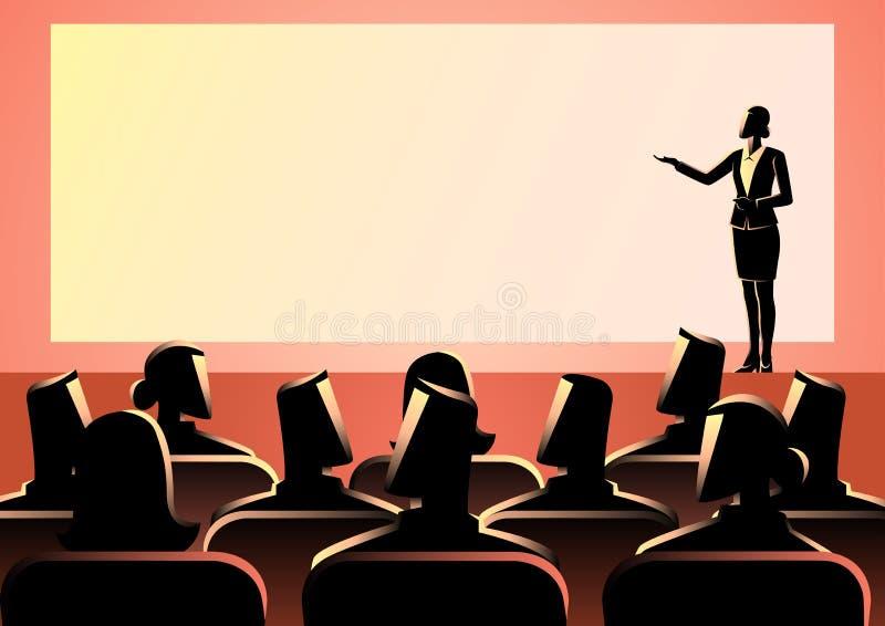 Bizneswoman daje prezentaci na dużym ekranie royalty ilustracja
