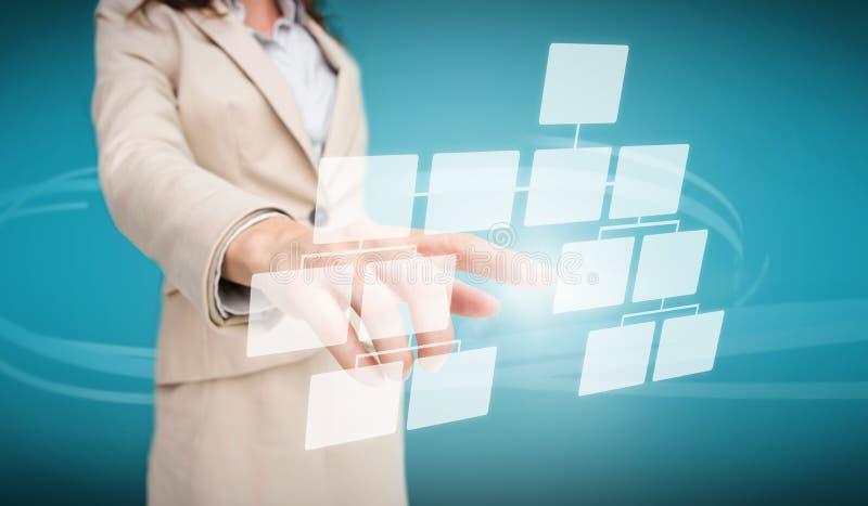 Bizneswoman dotyka futurystycznego spływowej mapy interfejs ilustracja wektor