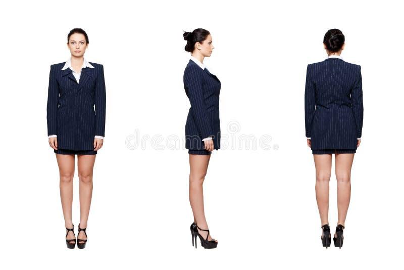 Bizneswoman frontowej strony tylni widok zdjęcia stock
