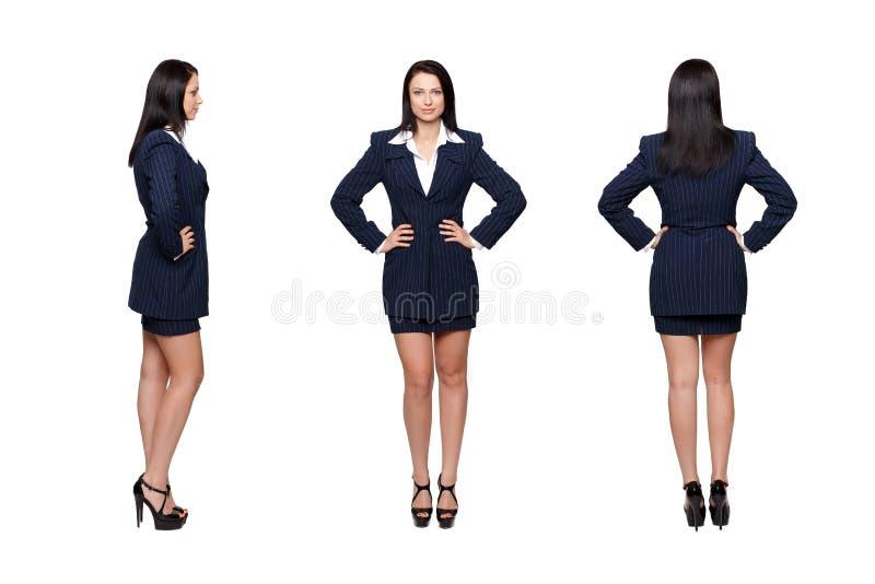 Bizneswoman frontowej strony z powrotem widok odizolowywający zdjęcie stock