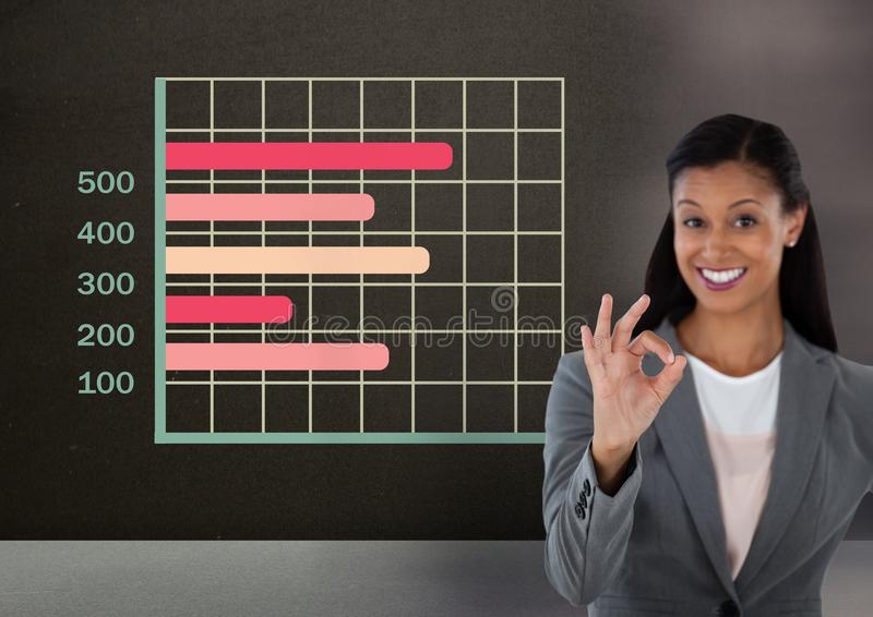 Bizneswoman gestykuluje ok z kolorowymi siatki mapy statystykami zdjęcia stock