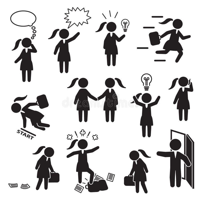 Bizneswoman i kobieta pracuje w biznesowym ikona secie wektor ilustracji