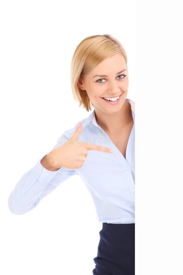 Bizneswoman i sztandar fotografia royalty free