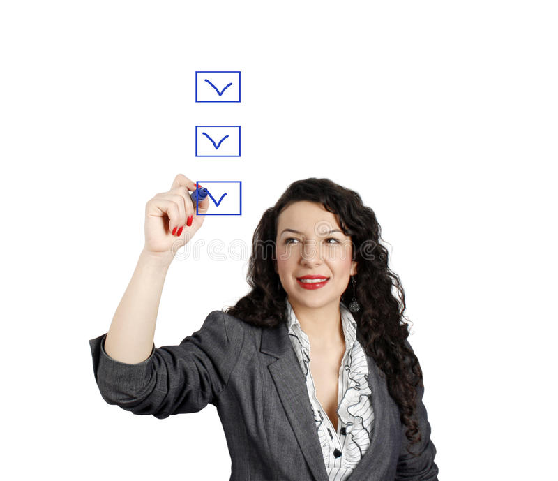bizneswoman lista kontrolna obraz stock