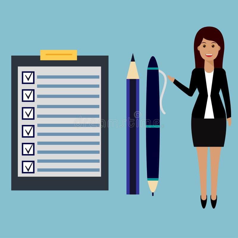 Bizneswoman, lista kontrolna, pióro i ołówek, ilustracja wektor