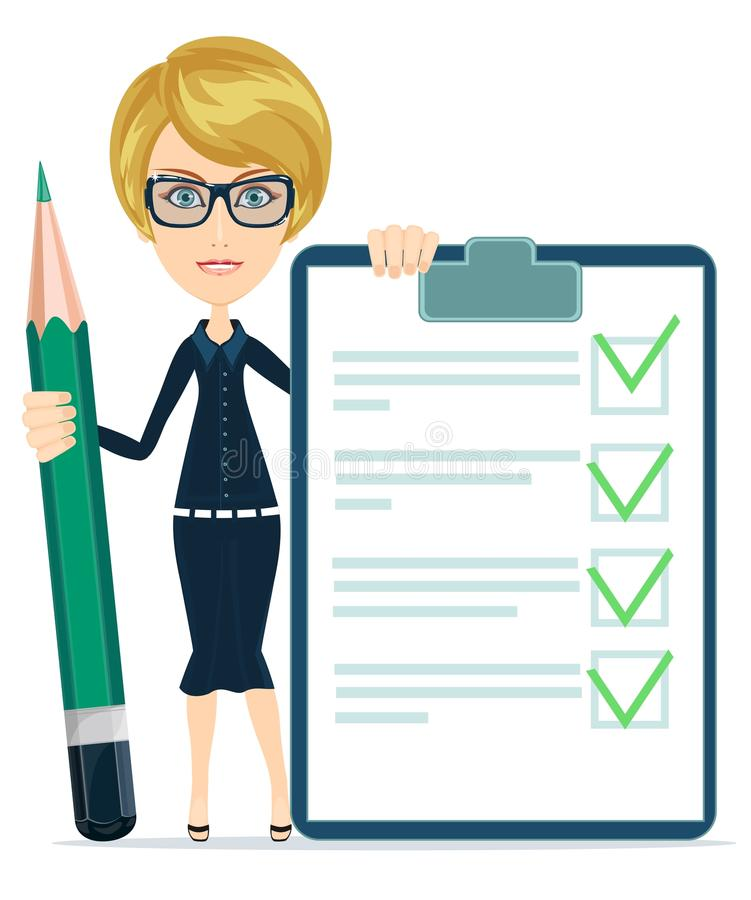 Bizneswoman lub nauczyciel Trzyma papier Z ilustracji