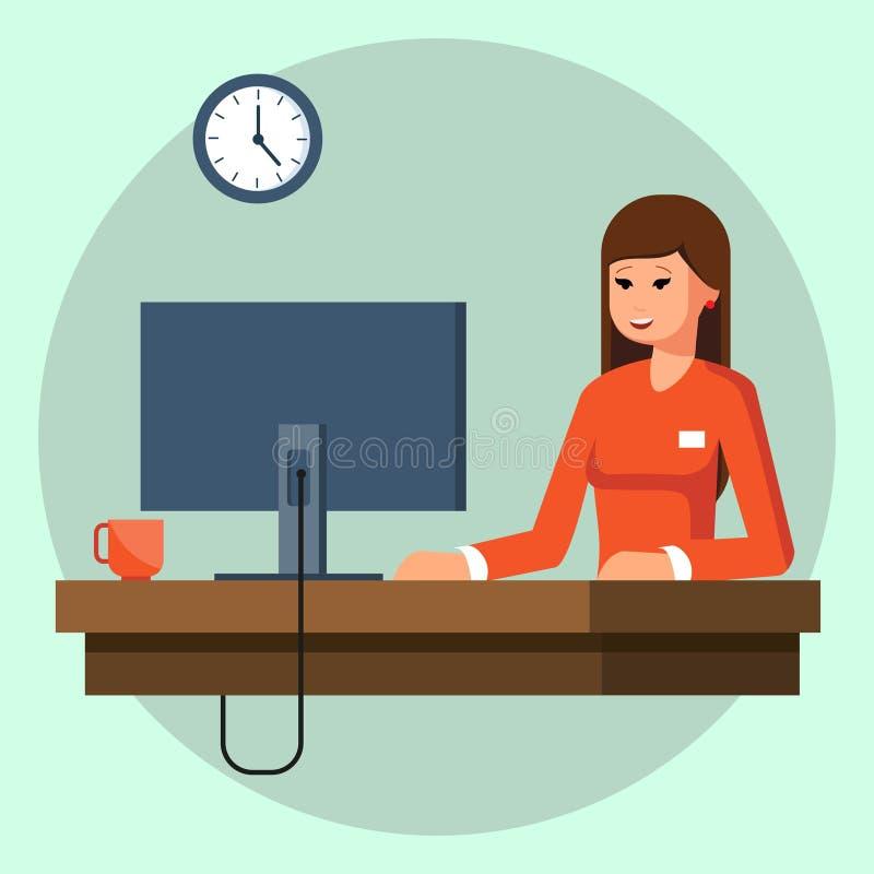 Bizneswoman lub urzędnik pracuje przy jej biurowym biurkiem mieszkanie stylowa nowożytna wektorowa ilustracja ilustracji