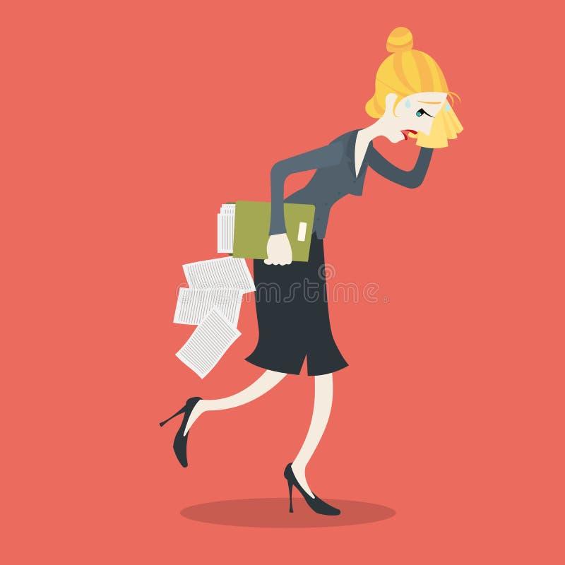 Bizneswoman męczący obcieranie pot z chusteczką ilustracja wektor