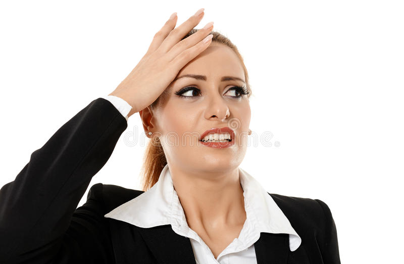 bizneswoman ma migrenę zdjęcia royalty free