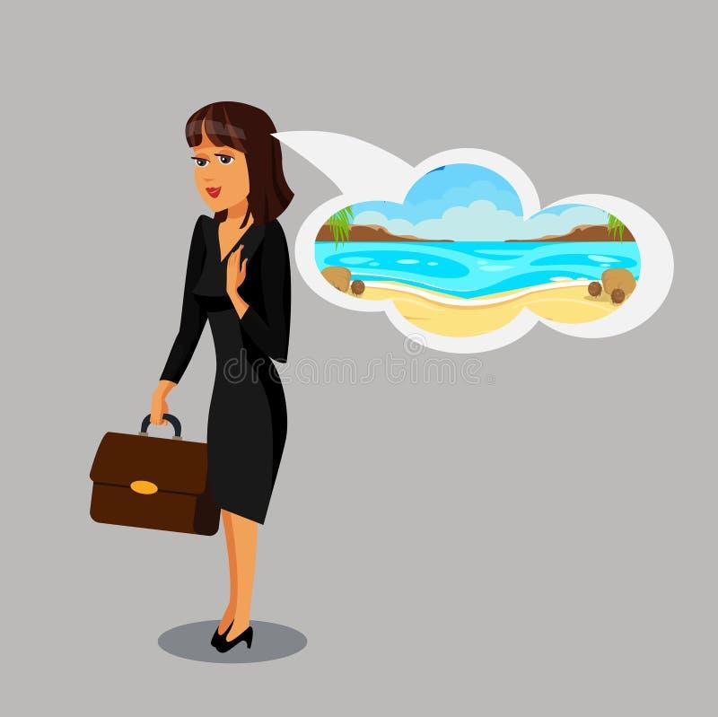 Bizneswoman Marzy o Urlopowym Clipart royalty ilustracja