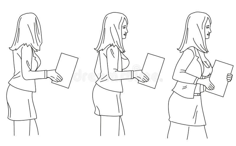 Bizneswoman niesie papier Czarna Wektorowa ilustracja odizolowywająca na białym tle ilustracji