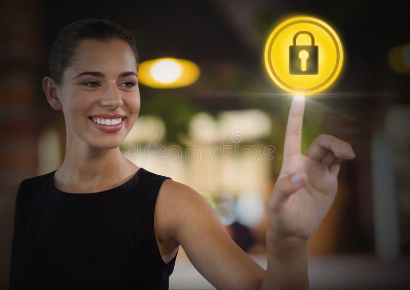 Bizneswoman ochrony kędziorka wzruszająca ikona zdjęcie stock