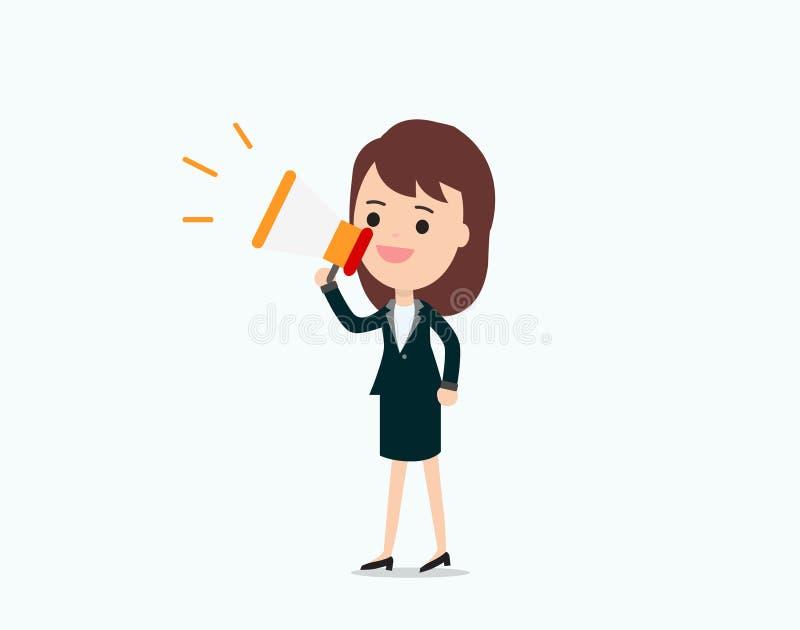 Bizneswoman ogłasza z megafonem, promocyjny marketing royalty ilustracja
