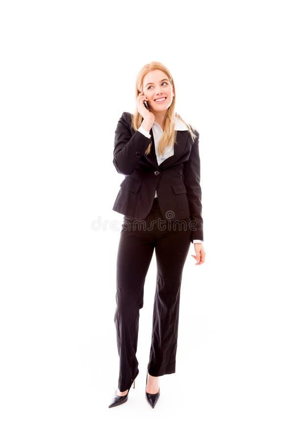 Download Bizneswoman Opowiada Na Telefonie Komórkowym Obraz Stock - Obraz złożonej z kostium, tylko: 41950093