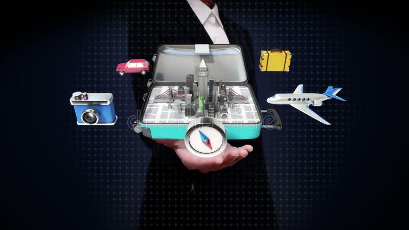 Bizneswoman otwarte palmy, Otwierać podróżna torba, bagażnik, Przygotowywają podróżować dla miasta, wycieczka turysyczna zbiory