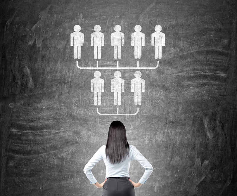 Bizneswoman patrzeje hierarchii nakreślenie ilustracji