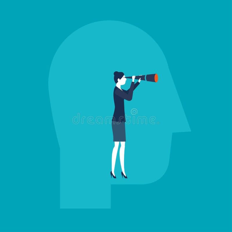 Bizneswoman patrzeje z spyglass wśrodku głowy ilustracji