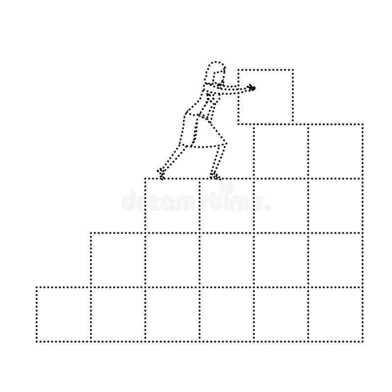 Bizneswoman pcha blok w strukturze cegły monochromatyczna sylwetka kropkująca royalty ilustracja