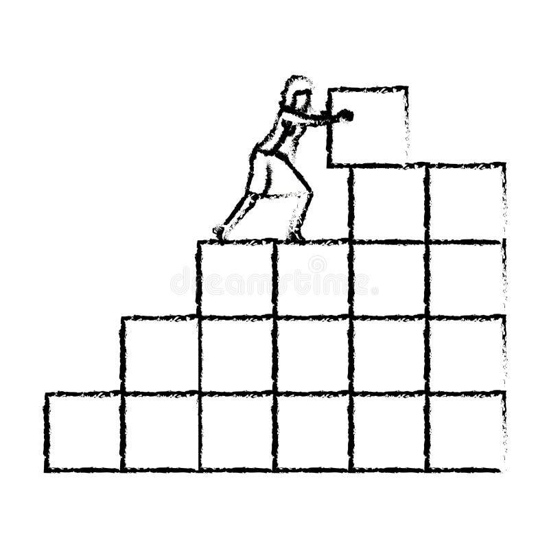 Bizneswoman pcha blok w strukturze cegły sylwetka zamazywał monochrom royalty ilustracja