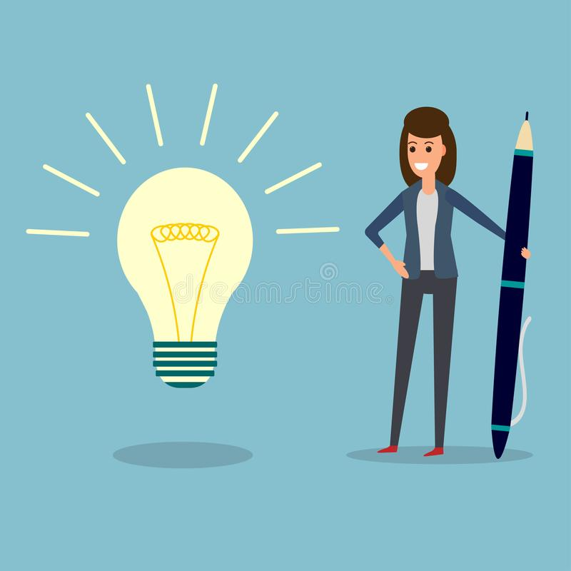 Bizneswoman, pióro, pomysł żarówka ilustracji