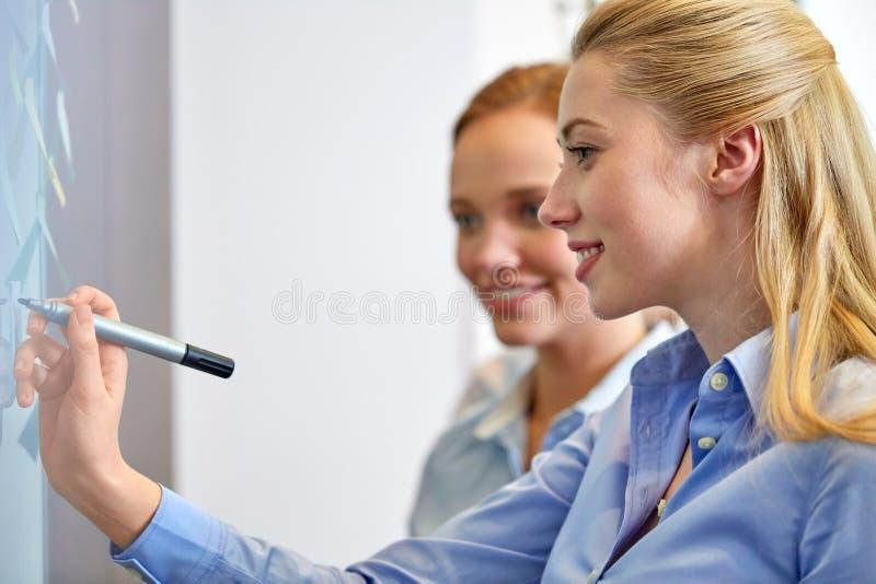 Bizneswoman pisze kleistych notatkach przy biurem obrazy stock